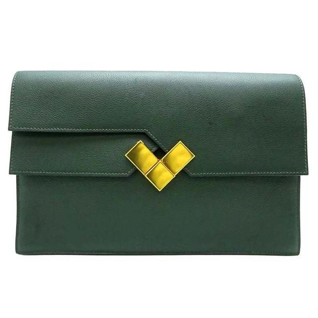 Item - Fortunio Engraved: A (Made In 2017) Women's Men's Shoulder Evercolor Vertian Green Clutch