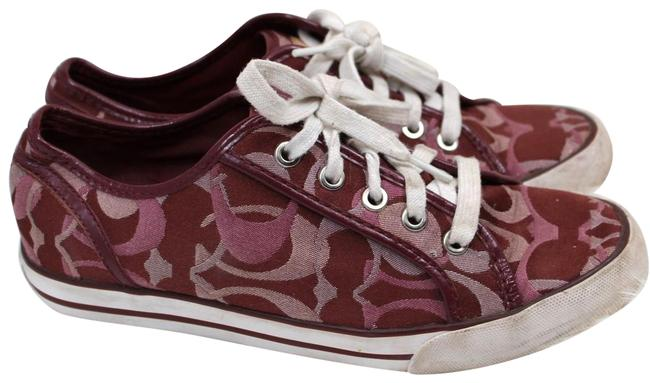 Item - Red Burgundy Casual C Logo Sneakers Size US 7 Wide (C, D)