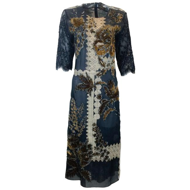 Item - Navy Blue Lace-trimmed Embroidered Metallic Cocktail Dress Size 12 (L)