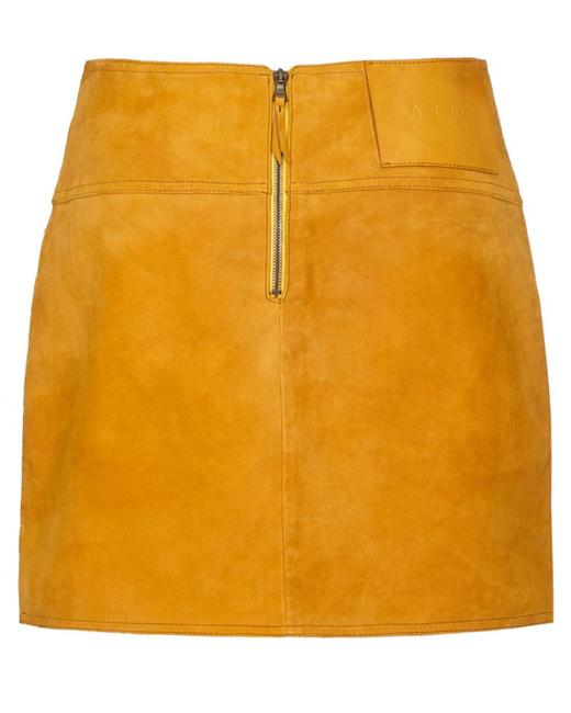 Item - Gold Yellow L Suede Bonded Skirt Size 14 (L, 34)