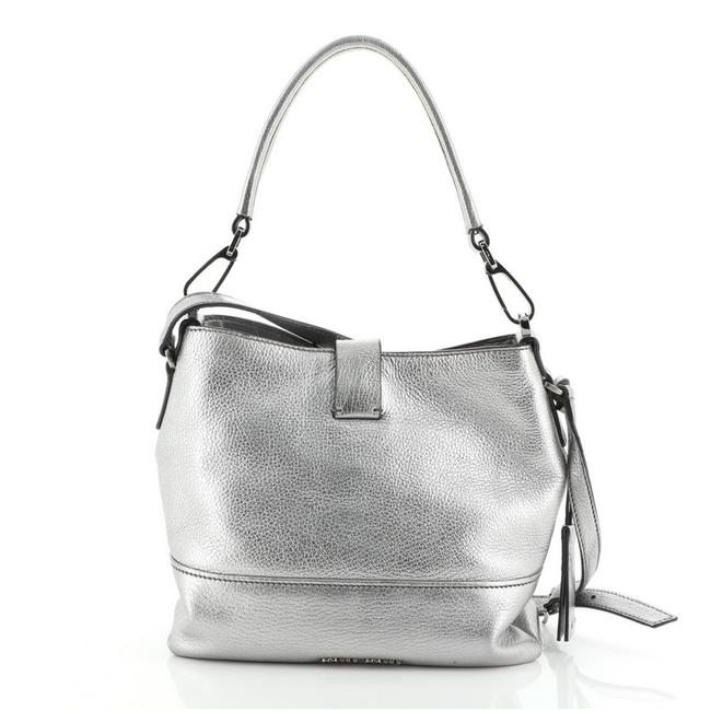 Item - Madras Convertible Small Metallic Silver Leather Hobo Bag