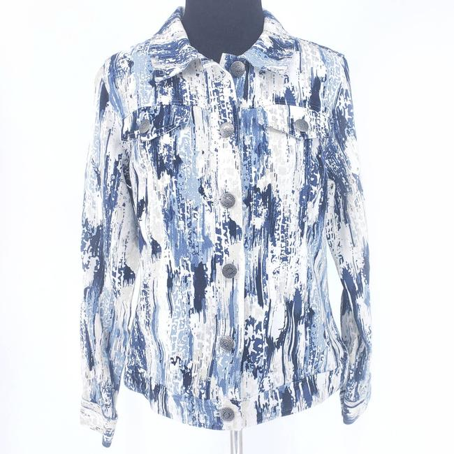 Item - Blue Print Button Front Jean Small Jacket Size 6 (S)