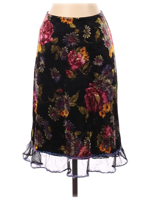 Item - Black/Pink/Green/Blue Vintage Floral Velour Ruffle Skirt Size 4 (S, 27)