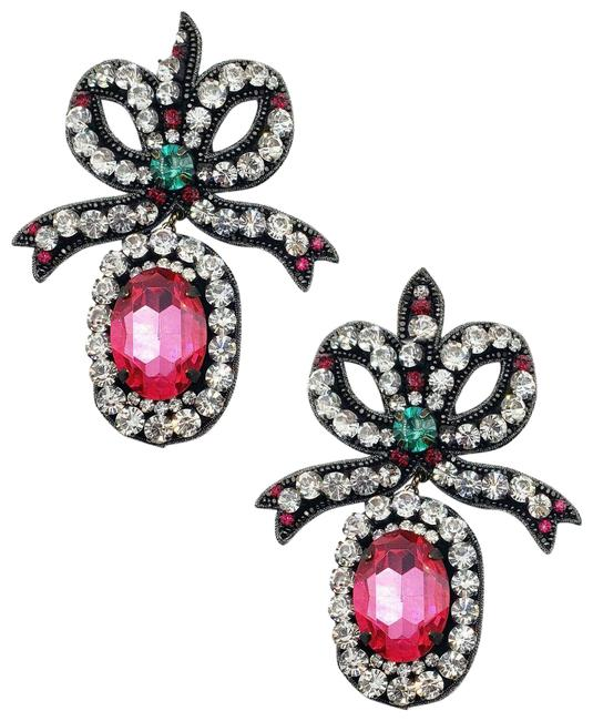 Item - Pink Women's Large and Crystal Embroidered Bow 503142 8381 Earrings