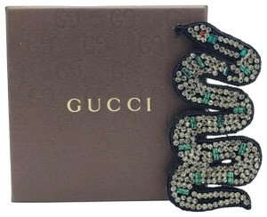 Gucci Gray and Green Crystal Snake Brooch with Black Beading 460701 8523 D