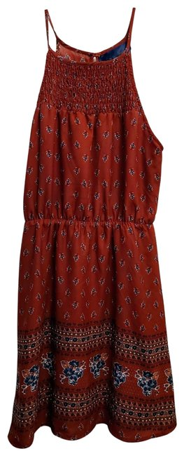 Item - Red Francesca's Brick Floral Short Casual Dress Size 8 (M)