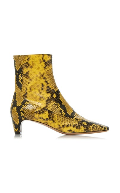 Item - Brown Yellow Snake Effect Low Heel Ankle Boots/Booties Size EU 35 (Approx. US 5) Regular (M, B)