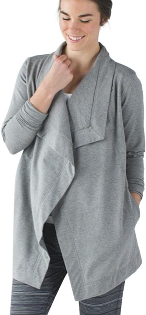 Item - Heathered Medium Grey Restore Wrap French Terry Activewear Outerwear Size 8 (M)