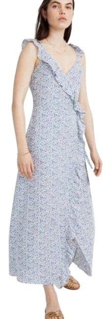 Item - Blue White Ruffle Wrap Floral Mid-length Casual Maxi Dress Size 6 (S)