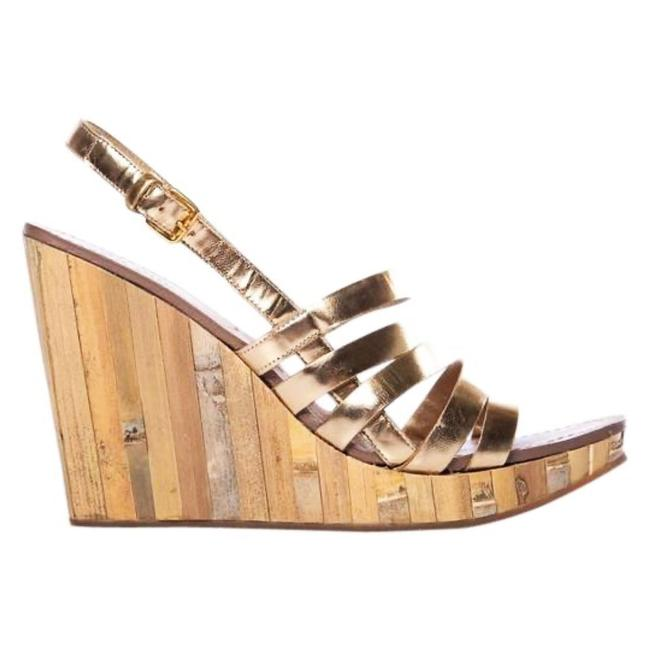 Item - Gold Leather Strappy Cutout Bamboo Panel Heels Wedges Size EU 36.5 (Approx. US 6.5) Regular (M, B)