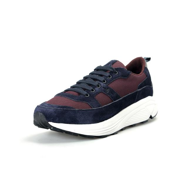Item - Blue/White/Burgundy Car By Men's Suede Leather Fashion Sneakers Size US 11 Regular (M, B)