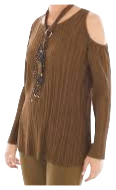 Item - Brown Faux-suede Cold Shoulder Tunic Size 14 (L)