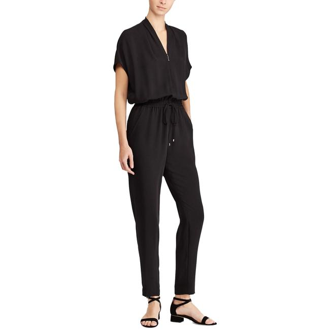 Item - Black Cady Woven Drawstring Waist Dolman Short Sleeve Romper/Jumpsuit