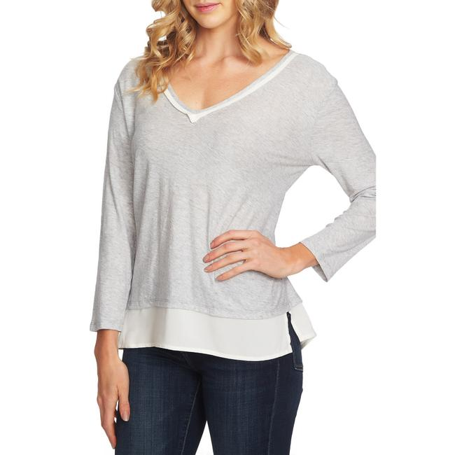 Item - Gray Layered Look Blouse Size 6 (S)
