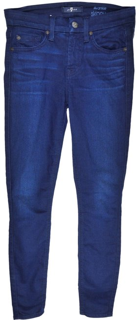 Item - Illusion Dark Blue Rinse The Ankle In Second Skin Skinny Jeans Size 24 (0, XS)