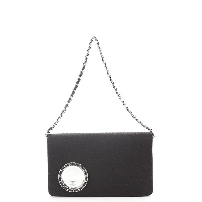 Item - Vanity Flap On Chain Embellished Quilted Black Satin Clutch