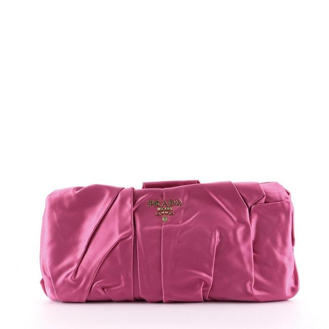 Item - Frame Pleated Small Pink Satin Clutch