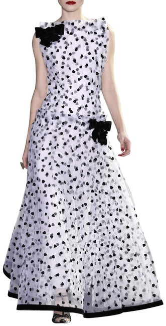 Item - Black Heart-detailed Bow-embellished Tulle Maxi Long Cocktail Dress Size 6 (S)