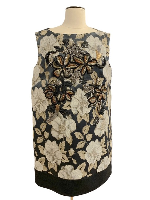 Item - Gray Beige Floral Evening Mid-length Cocktail Dress Size 8 (M)