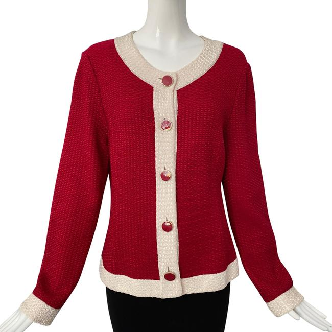 Item - Red Crew Neck Button Down Jacket Size 8 (M)