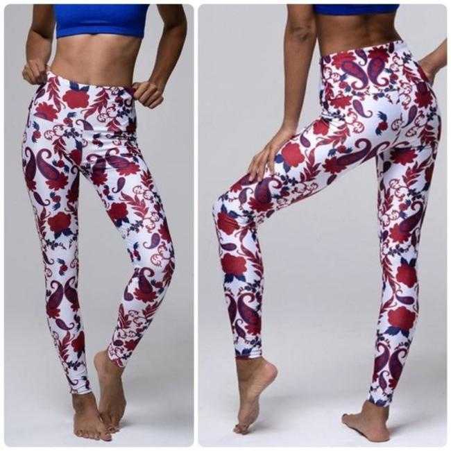 Item - Red / Blue / White Old Havana Print High Rise Performance S/M Activewear Bottoms Size 6 (S, 28)