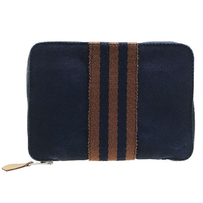 Item - Brown / Navy Fool To Perth Pm Canvas Round Fastener Bi-fold Compact Mini Men's Women's Unisex Wallet