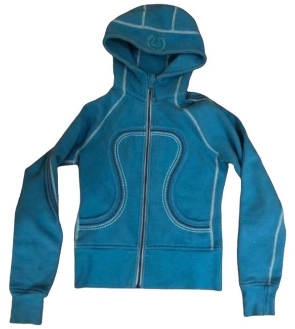 Item - Turquoise Scuba Cotton Fleece Contrast Stitching Activewear Outerwear Size 4 (S)