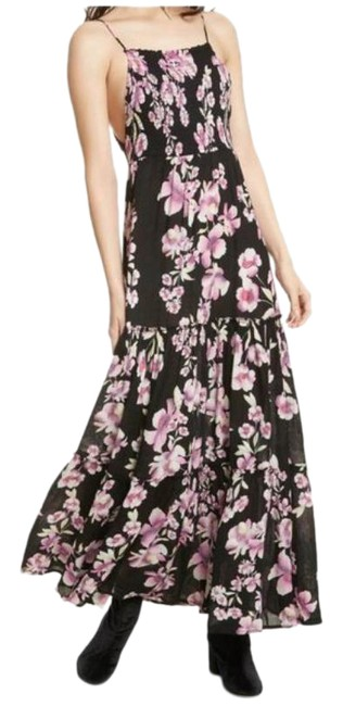 Item - Black / Pink Floral Intimately Garden Party Long Casual Maxi Dress Size 2 (XS)