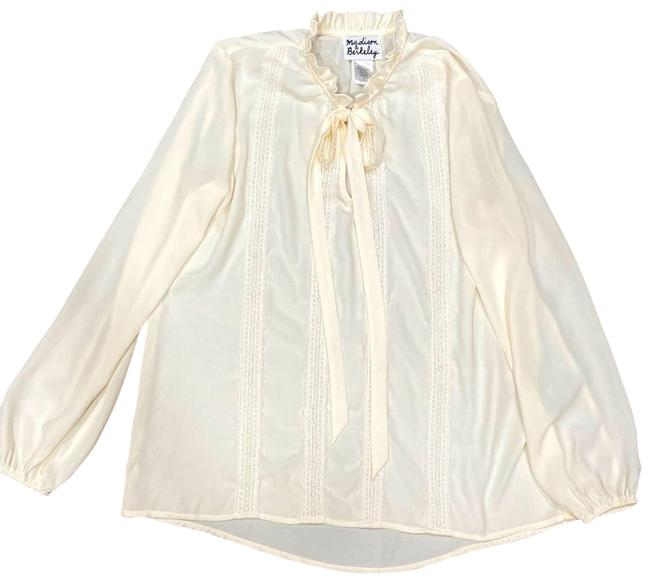Item - White Off Peasant Neck Tie Blouse Size 6 (S)