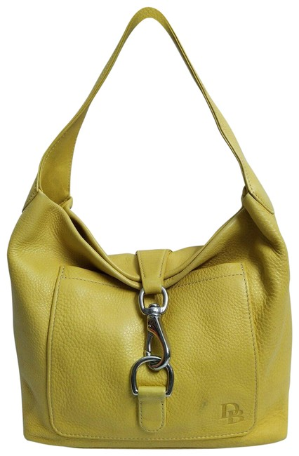 Item - Hobo Pebbled Clasp Closure Yellow Leather Shoulder Bag