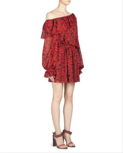 Item - Multicolored Women's Red One-shoulder Floral-print Silk Georgette Short Casual Dress Size 6 (S)