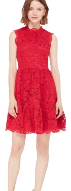 Item - Red Poppy Field Lace Scalloped Trim Mid-length Cocktail Dress Size 6 (S)