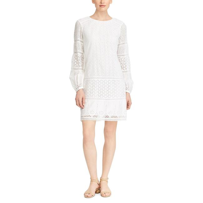 Item - White Cotton Voile Floral Eyelet Tiered Hem Long Sleeve Short Casual Dress Size 14 (L)
