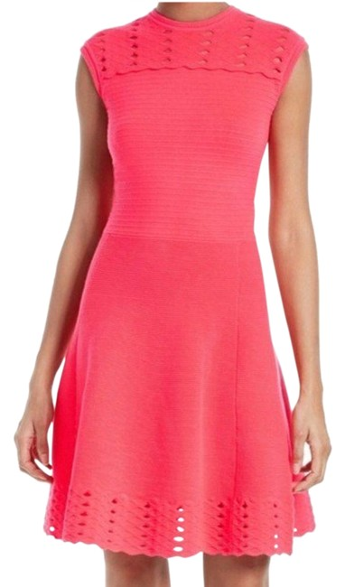 Item - Pink Zaralie Jacquard Skater Fit Flare Short Casual Dress Size 8 (M)