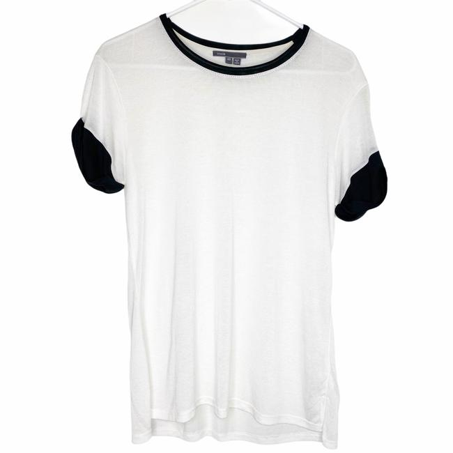 Item - White XS Rolled Sleeve Knit Crewneck Black Tipping Tee Shirt Size 0 (XS)