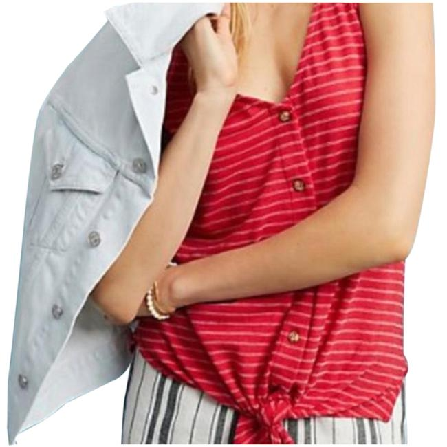 Item - Red Striped Button Front Tank Top/Cami Size 0 (XS)