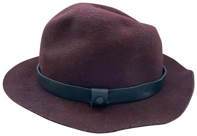 Item - Wine Red Fedora Leather Wool Hat