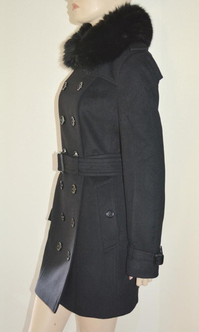 Burberry Black Wool Cashmere Removable Fox Fur Collar Us Eu 42 Coat Size 8 (M) Burberry Black Wool Cashmere Removable Fox Fur Collar Us Eu 42 Coat Size 8 (M) Image 5