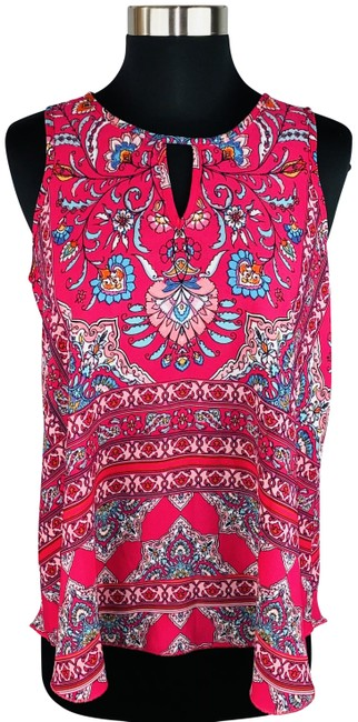 Item - Pink Sleeveless Boho Floral Keyhole Accents Blouse Size 4 (S)