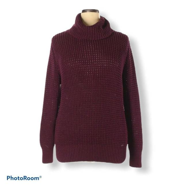 Item - XL Metallic Chucky Knit Turtleneck Long Sleeve Maroon Sweater