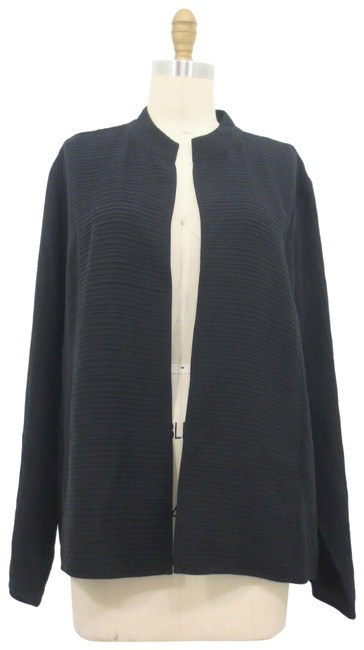 Item - Black Silk Ribbed Long Sleeve Open Front Jacket Size 16 (XL, Plus 0x)