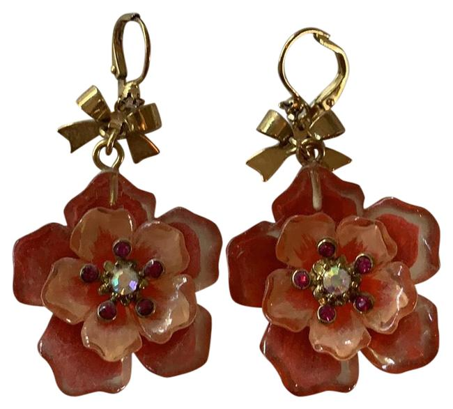 Item - Gold and Peach Flower Earrings