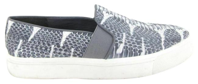 Item - Gray Snakeskin Python Embossed Blair Leather Slip On Flats Size US 8.5 Regular (M, B)