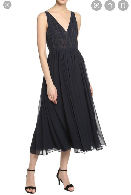 Item - Navy Gown Sheer with Tan Underlined Long Formal Dress Size 4 (S)