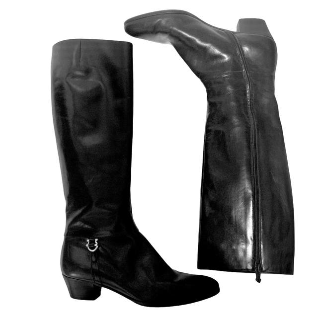 Salvatore Ferragamo Black For Saks Fifth Avenue Leather Riding Boots/Booties Size US 8 Narrow (Aa, N) Salvatore Ferragamo Black For Saks Fifth Avenue Leather Riding Boots/Booties Size US 8 Narrow (Aa, N) Image 2
