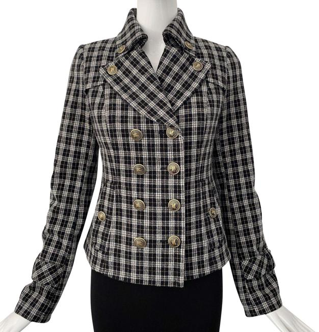 Item - Gray Black Check Double Breasted Jacket Size 4 (S)
