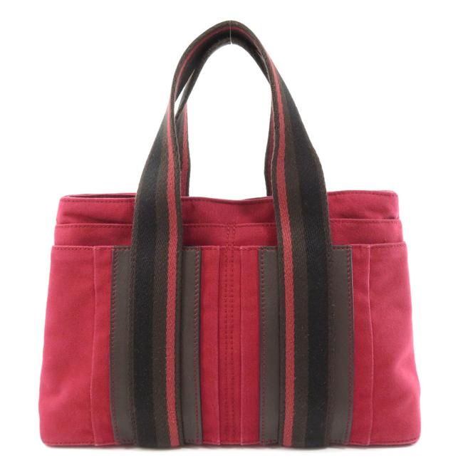 Item - Bag Horizontal Pm Ladies Brown / Red Color Canvas Tote