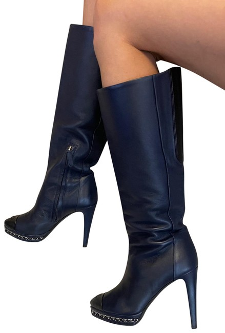 Item - Navy Chain Leather Boots/Booties Size EU 37 (Approx. US 7) Regular (M, B)