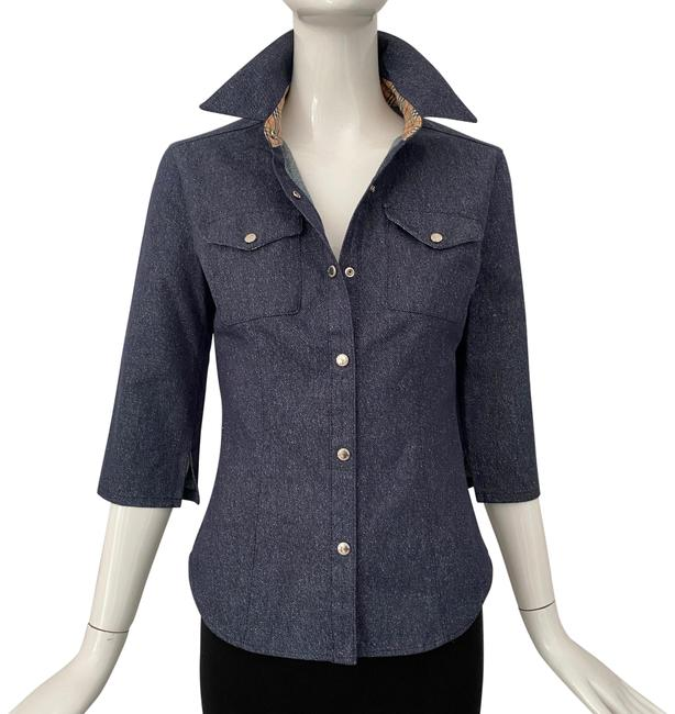 Item - Navy Denim Button Down Blouse Size 4 (S)