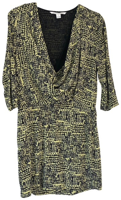 Item - Yellow Rachel Lily Crepe Patterned Short Cocktail Dress Size 6 (S)
